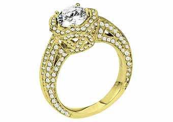 WOMENS DIAMOND ENGAGEMENT HALO RING ROUND CUT 2.25 CARAT 14K YELLOW GOLD