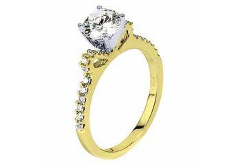 WOMENS DIAMOND ENGAGEMENT RING ROUND CUT 1.23 CARAT 14K YELLOW GOLD