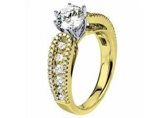 WOMENS DIAMOND ENGAGEMENT RING ROUND CUT 1.87 CARAT 14K YELLOW GOLD