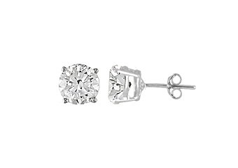 3.7 CARAT QUARTZ STUD EARRINGS 8mm BRILLIANT ROUND CUT 925 SILVER