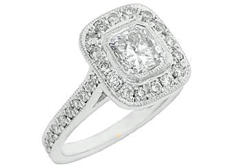 1.75 CARAT WOMENS DIAMOND ENGAGEMENT HALO WEDDING RING CUSHION CUT WHITE GOLD