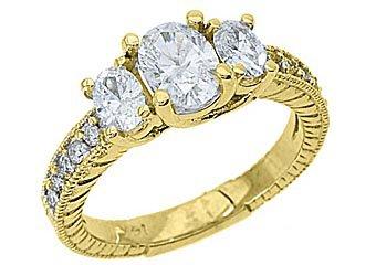 1.5 CARAT WOMENS 3-STONE PAST PRESENT FUTURE DIAMOND RING OVAL SHAPE YELLOW GOLD
