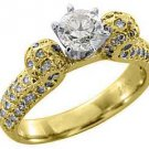 1.5 CARAT WOMENS ANTIQUE DIAMOND ENGAGEMENT WEDDING RING ROUND CUT YELLOW GOLD