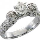 1.5 CARAT WOMENS ANTIQUE DIAMOND ENGAGEMENT WEDDING RING ROUND CUT WHITE GOLD