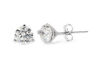 1 CARAT BRILLIANT ROUND CUT DIAMOND STUD EARRINGS 14KT WHITE GOLD MARTINI SET I1
