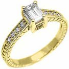 .66 CARAT WOMENS ANTIQUE DIAMOND ENGAGEMENT WEDDING RING EMERALD CUT YELLOW GOLD
