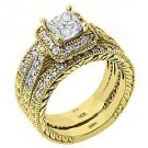 DIAMOND ENGAGEMENT RING HALO WEDDING BAND BRIDAL SET PRINCESS CUT YELLOW GOLD