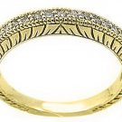 1/3 CARAT WOMENS ANTIQUE ROUND CUT DIAMOND RING WEDDING BAND 14K YELLOW GOLD