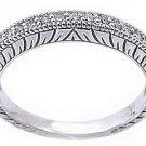 1/3 CARAT WOMENS ANTIQUE ROUND CUT DIAMOND RING WEDDING BAND 14K WHITE GOLD