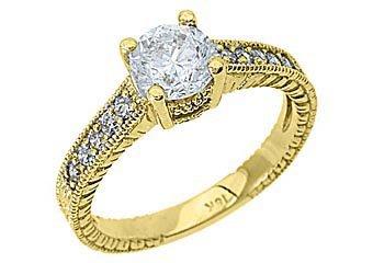 1.26CT WOMENS DIAMOND ENGAGEMENT WEDDING RING BRILLIANT ROUND CUT YELLOW GOLD