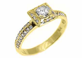 .43 CARAT WOMENS PRINCESS DIAMOND HALO ENGAGEMENT RING MICRO PAVE YELLOW GOLD