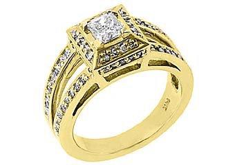 1.18 CARAT WOMENS PRINCESS SQUARE DIAMOND ENGAGEMENT HALO RING 14K YELLOW GOLD