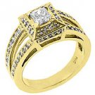 1.18 CARAT WOMENS PRINCESS SQUARE DIAMOND ENGAGEMENT HALO RING 14K YELLOW GOLD