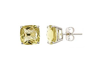 3.7 CARAT CUSHION CUT CHECK TOP LIME QUARTZ STUD EARRINGS 8mm 925 SILVER