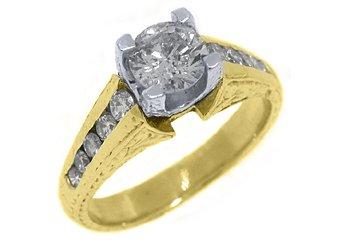 1.35 CARAT WOMENS ANTIQUE DIAMOND ENGAGEMENT WEDDING RING ROUND CUT YELLOW GOLD