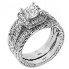 DIAMOND ENGAGEMENT RING HALO WEDDING BAND BRIDAL SET PRINCESS CUT 14K WHITE GOLD