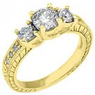 1.43 CARAT WOMENS 3-STONE PAST PRESENT FUTURE DIAMOND RING ROUND CUT YELLOW GOLD