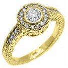 .75 CARAT WOMENS DIAMOND HALO ENGAGEMENT WEDDING RING ROUND BEZEL YELLOW GOLD