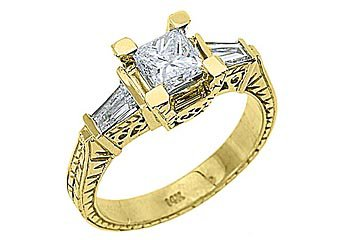 2 CARAT WOMENS ANTIQUE DIAMOND ENGAGEMENT RING PRINCESS BAGUETTE CUT YELLOW GOLD