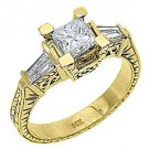 2 CARAT WOMENS ANTIQUE DIAMOND ENGAGEMENT RING PRINCESS BAGUETTE CUT YELLOW GOLD