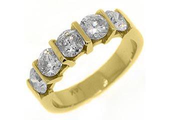 1.78 CARAT WOMENS BRILLIANT ROUND 5-STONE DIAMOND RING WEDDING BAND YELLOW GOLD