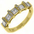 1.06CT WOMENS PRINCESS BAGUETTE ROUND CUT DIAMOND RING WEDDING BAND YELLOW GOLD