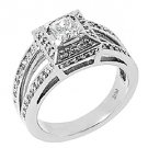 1.18 CARAT WOMENS PRINCESS SQUARE DIAMOND ENGAGEMENT HALO RING 14K WHITE GOLD