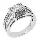 1.18 CARAT WOMENS PRINCESS SQUARE DIAMOND ENGAGEMENT HALO RING 14K WHITE GOLD