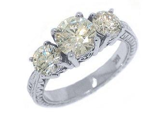2.26 CARAT WOMENS 3-STONE PAST PRESENT FUTURE DIAMOND RING ROUND CUT WHITE GOLD