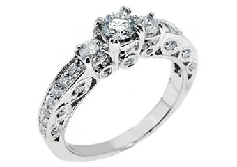 1.1 CARAT WOMENS 3-STONE PAST PRESENT FUTURE DIAMOND RING ROUND CUT WHITE GOLD