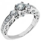 1.1 CARAT WOMENS 3-STONE PAST PRESENT FUTURE DIAMOND RING ROUND CUT WHITE GOLD