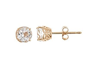 1.12 CARAT WHITE TOPAZ STUD EARRINGS 5mm ROUND 14K YELLOW GOLD APRIL BIRTH STONE