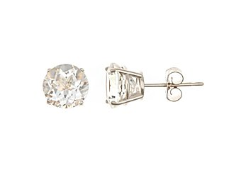 3 CARAT WHITE TOPAZ STUD EARRINGS 7mm ROUND 925 SILVER APRIL BIRTH STONE