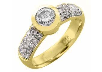 1.3 CARAT WOMENS DIAMOND ENGAGEMENT WEDDING RING ROUND CUT BEZEL YELLOW GOLD