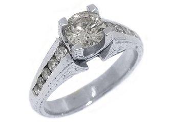 1.35 CARAT WOMENS ANTIQUE DIAMOND ENGAGEMENT WEDDING RING ROUND CUT WHITE GOLD