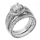 DIAMOND ENGAGEMENT RING HALO WEDDING BAND BRIDAL SET PRINCESS CUT 18K WHITE GOLD