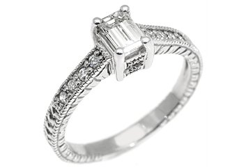 .66 CARAT WOMENS ANTIQUE DIAMOND ENGAGEMENT WEDDING RING EMERALD CUT WHITE GOLD