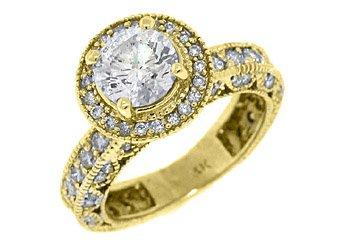 2.4 CARAT WOMENS BRILLIANT ROUND CUT DIAMOND ENGAGEMENT RING HALO YELLOW GOLD
