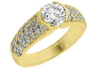 2 CARAT WOMENS DIAMOND ENGAGEMENT WEDDING RING BRILLIANT ROUND CUT YELLOW GOLD