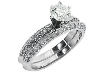 WOMENS ANTIQUE DIAMOND ENGAGEMENT RING WEDDING BAND BRIDAL SET ROUND WHITE GOLD