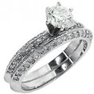 WOMENS ANTIQUE DIAMOND ENGAGEMENT RING WEDDING BAND BRIDAL SET ROUND WHITE GOLD