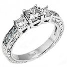 1.25CT WOMENS 3-STONE PAST PRESENT FUTURE DIAMOND RING PRINCESS CUT WHITE GOLD