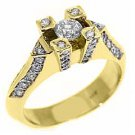 .87 CARAT WOMENS ANTIQUE ROUND CUT DIAMOND ENGAGEMENT RING 14K YELLOW GOLD