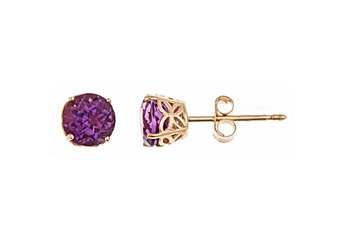 .80CT AMETHYST STUD EARRINGS 5mm ROUND 14KT YELLOW GOLD FEBURARY BIRTH STONE