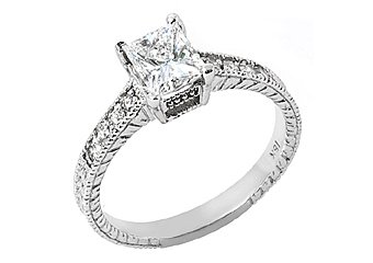 1.31CT WOMENS ANTIQUE DIAMOND ENGAGEMENT WEDDING RING PRINCESS CUT WHITE GOLD