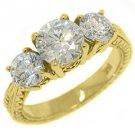2.26 CARAT WOMENS 3-STONE PAST PRESENT FUTURE DIAMOND RING ROUND CUT YELLOW GOLD
