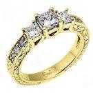 1.25CT WOMENS 3-STONE PAST PRESENT FUTURE DIAMOND RING PRINCESS CUT YELLOW GOLD