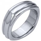 MENS WEDDING BAND ENGAGEMENT RING WHITE GOLD HIGH GLOSS 6mm
