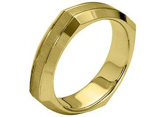 MENS WEDDING BAND ENGAGEMENT RING YELLOW GOLD SATIN & HIGH GLOSS 5mm