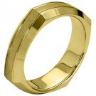 MENS WEDDING BAND ENGAGEMENT RING YELLOW GOLD SATIN & HIGH GLOSS 5mm